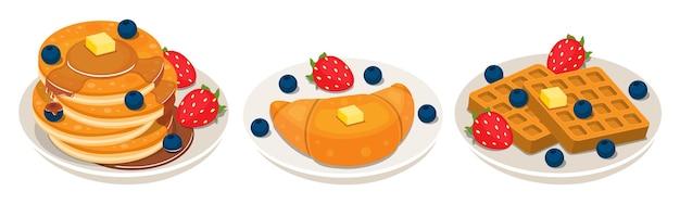 朝食料理コレクションのコンセプトの白いプレートにパンケーキクロワッサンワッフル