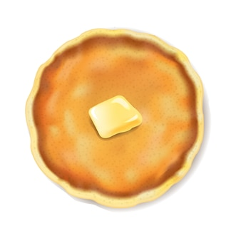 Pancake isolated with butter white background