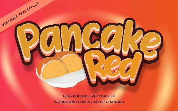 Pancake red text effect editable for illustrator