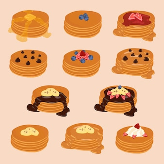 Pancake stack vector isolated clip-art, cartoon style illustration set,various toppings.