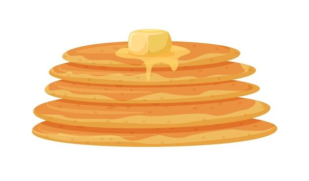 白で分離されたメープルシロップとバターのパンケーキスタック