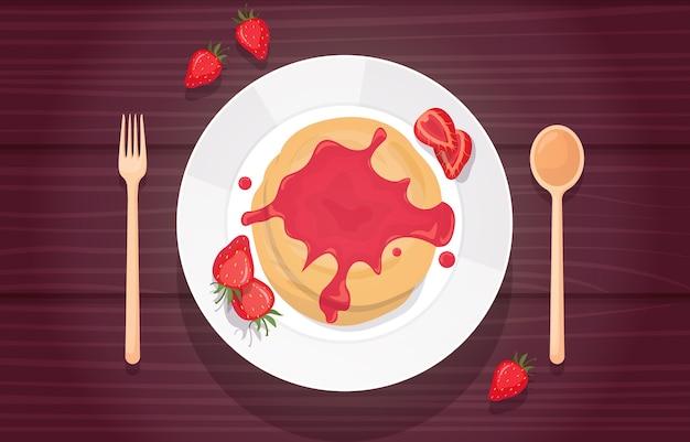 Блинчики с клубничным вареньем, сироп, вкусное меню на столе