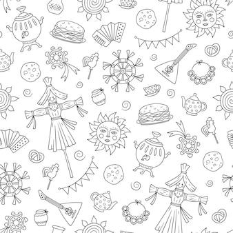 Элементы масленицы - блин, самовар, конфета, балалайка, солнышко, чучело зимы, сметана, гармошка. бесшовный узор в стиле каракули на белом фоне