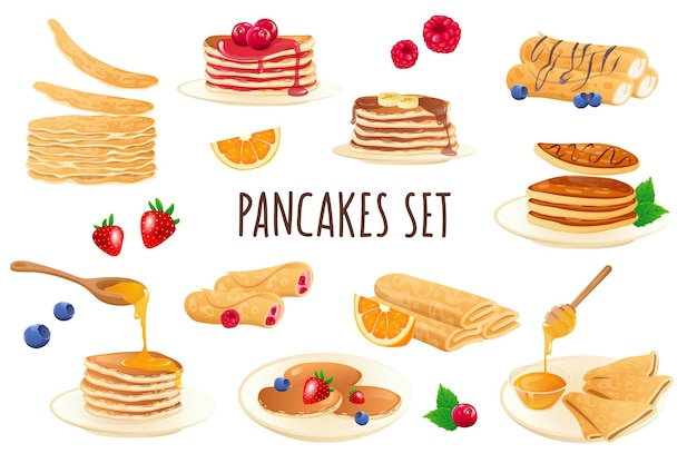 Pancakes icon set in realistic 3d design bundle of stacks of pancakes with different filling