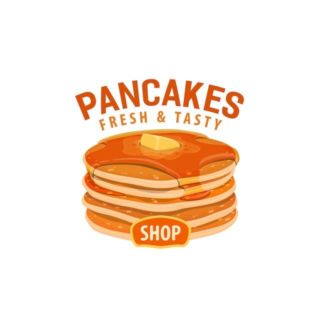 Pancakes icon. street food cafe, shop or restaurant sweet dessert