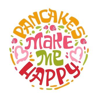 팬케이크는 잎, 허브, 블루 베리 디자인으로 저에게 행복한 테마 레터링 문구를 만듭니다.