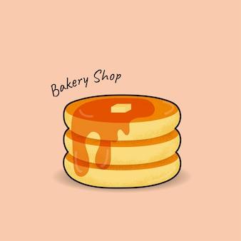 甘いメープルシロップのベクトルイラストとトップバターのパンケーキ背景に分離された漫画のアイコン