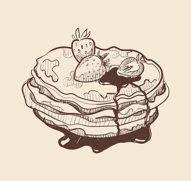 パンケーキイチゴとシロップのパンケーキ