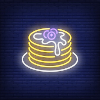 Pancakes stack with blueberries neon sign