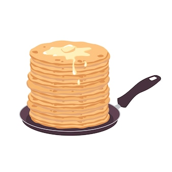 Pancakes with butter in a frying pan.