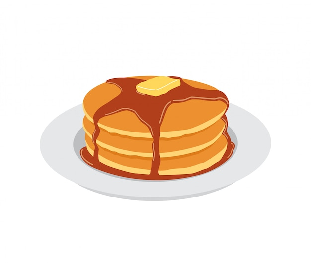 Pancakes with butter and maple syrup sweet