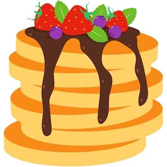 白い背景で隔離のチョコレート、ブルーベリー、ミント、イチゴの漫画イラストとパンケーキ。