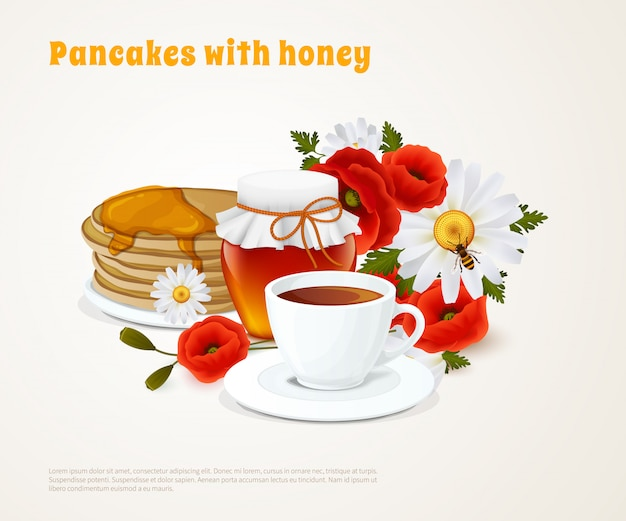 Pancakes with honey composition