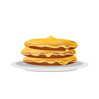 Pancakes with honey, dessert on white plate realistic illustration