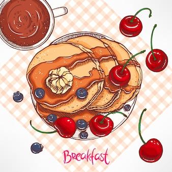 メープルシロップとバターのイラストとパンケーキ