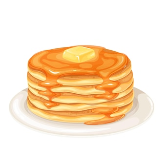 Pancakes with maple syrup illustration