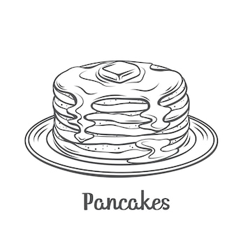Pancakes with maple syrup outline   illustration. drawn baking crepes with butter on plate. breakfast concept.