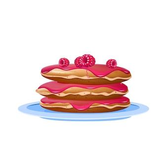라스베리와 잼 현실적인 그림 팬케이크. 파란색 접시에 디저트입니다. 아침 식사, 밀가루 과자 제공. 흰색 배경에 시럽과 딸기 3d 고립 된 개체와 flapjacks
