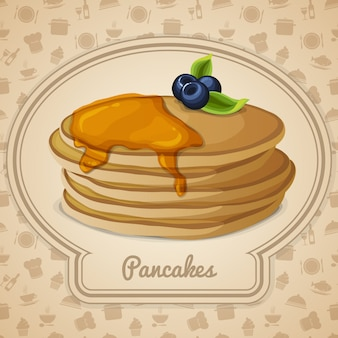 Pancakes with syrup illustration