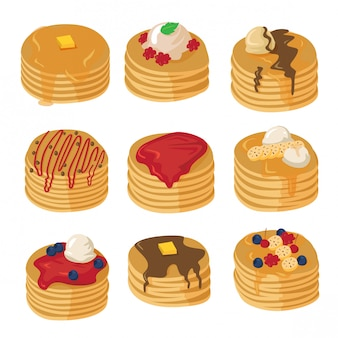 Pancakes with various topping set