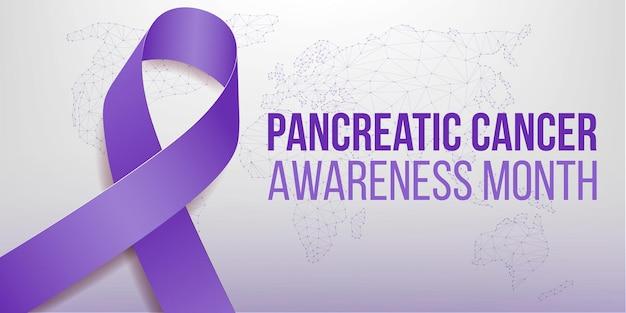 Концепция месяца осведомленности рака поджелудочной железы. шаблон баннера с фиолетовой лентой. векторная иллюстрация.