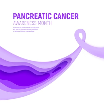 Pancreatic cancer awareness month paper cut concept. paper art purple ribbon - november health care. international health campaign for people