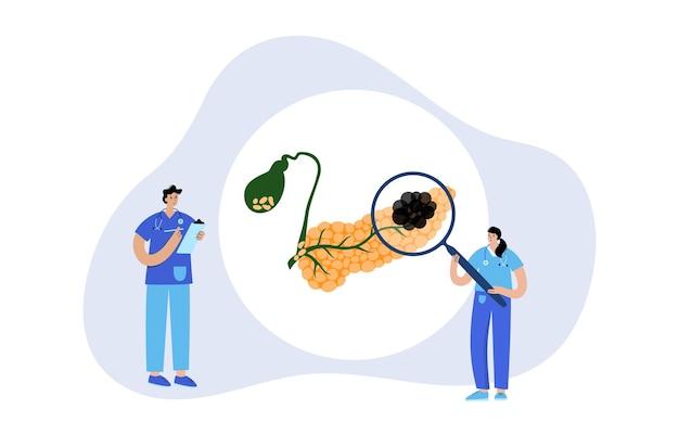 膵臓がんのロゴ、膵臓の病気。診療所での診察と治療