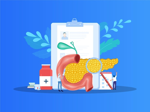Pancreatitis vector illustration medical appointment and treatment