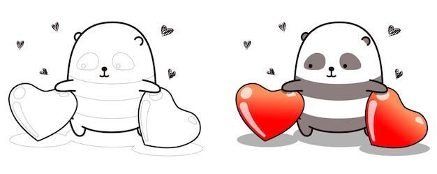 Panda and 2 hearts cartoon easily coloring page