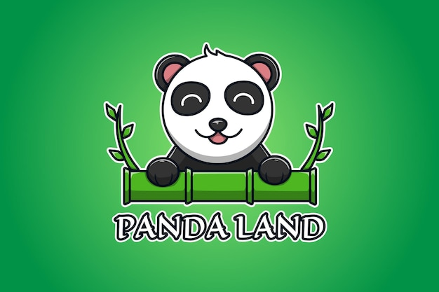 Панда и бамбук логотип иллюстрации шаржа