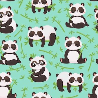 Панда и бамбук бесшовные модели.