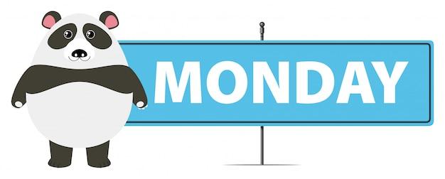 Панда и знак для понедельника
