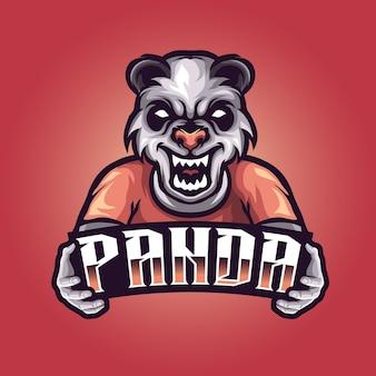 Panda angry template, mascot esports logo vector illustration for gaming and streamer