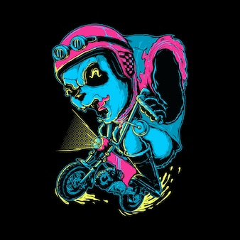 Panda animal biker graphic illustration