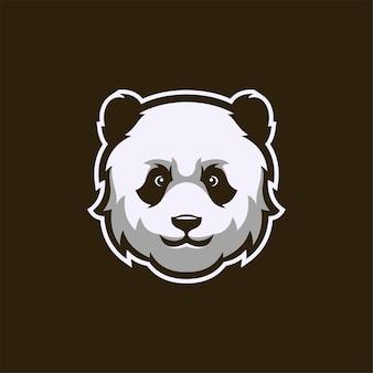 Panda animal head cartoon logo template illustration esport logo gaming premium vector