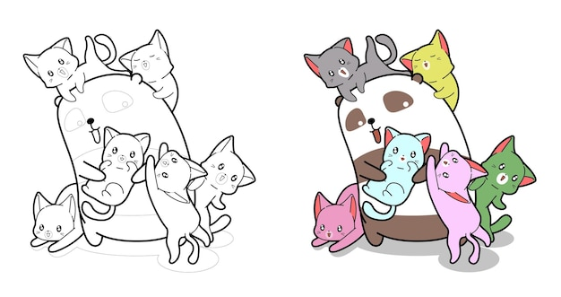 Panda and baby cats cartoon coloring page for kids