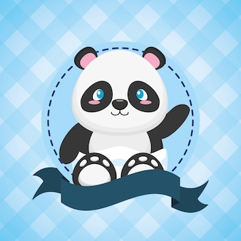 Panda for baby shower card