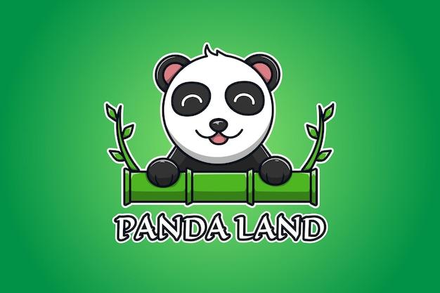 Panda and bamboo logo cartoon illustration