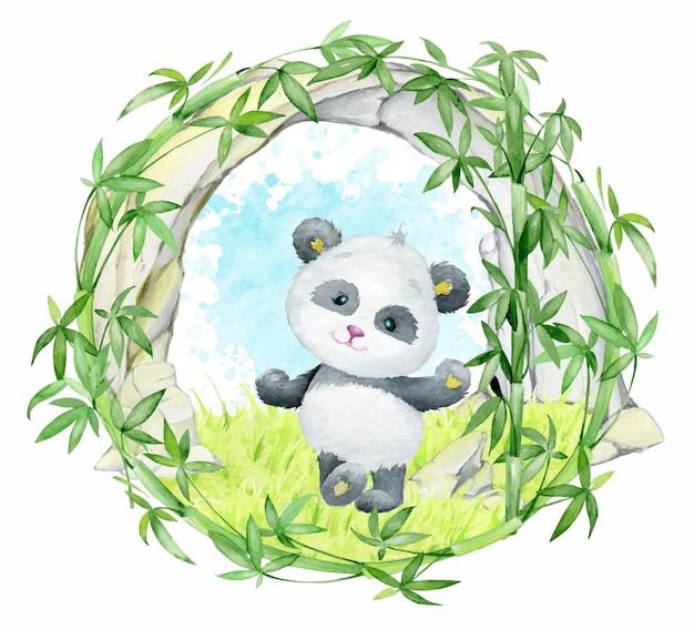 팬더, 대나무, 바위, 잔디. 격리 된 배경에 만화 스타일의 수채화 프레임.