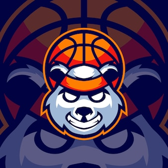 Panda basketball sports logo templates