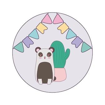 Панда медведь животное с кактусом и гирляндами