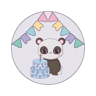 Медведь панда с тортом на день рождения и гирляндами