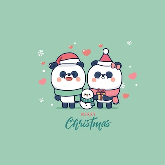 Panda bear cute animal cartoon and flat style christmas edition