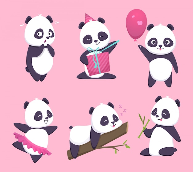 Panda. bear cute funny animal character in forest cartoon collection