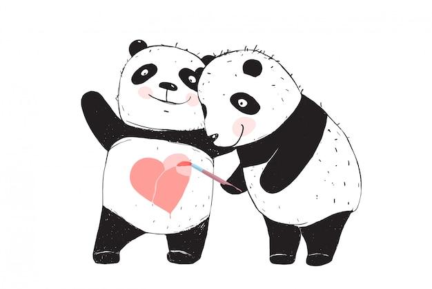 パンダのクマが愛の心を描く