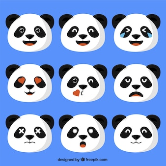 Panda bear emojis in flat design