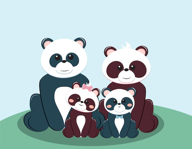 Panda bear family with mother father boy and girl vector illustration of greeting card concept