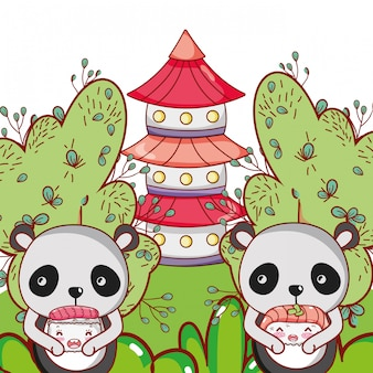 Panda bear and food kawaii