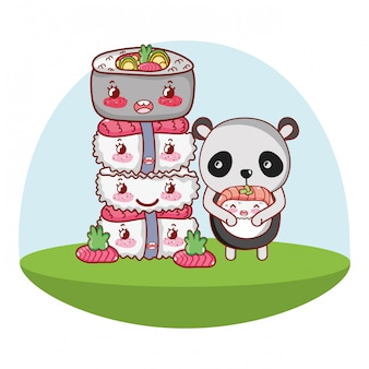 Panda bear and food kawaii