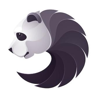 パンダの頭のボリュームのロゴ。コーポレートアイデンティティやスポーツチームのブランディングのための動物デザインテンプレート要素。